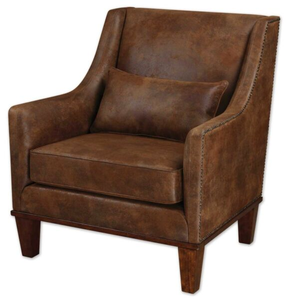 Clay Fabric Arm Chair with Natural Tanned Faux Nubuck Leather and Nailhead Trim