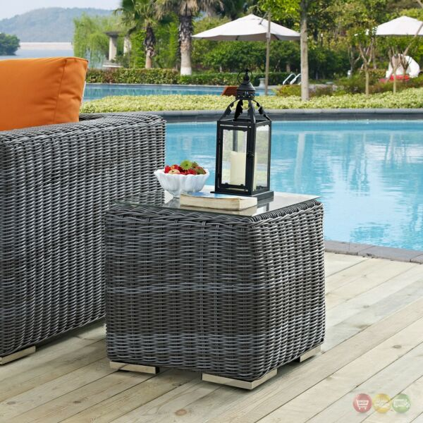 Summon Modular Rattan Outdoor Patio Glass Top Side Table Gray