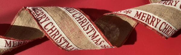 "Classic ""Merry Christmas"" Red Burlap Ribbon Holiday Christmas Gift Bow"