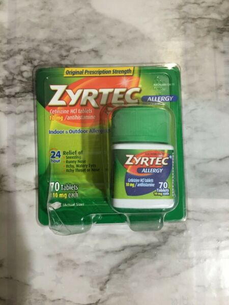 Zyrtec Allergy 24 Hour 10 MG Tablets 70 Tablets Antihistamine Exp JANUARY 2021+