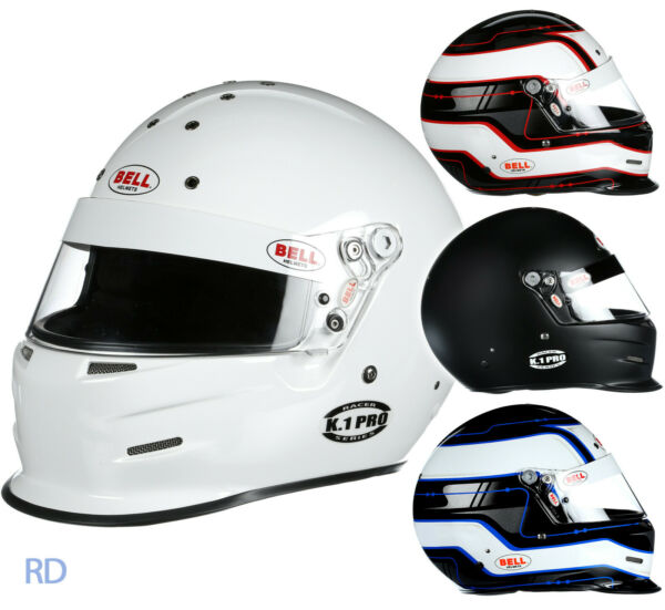 Bell K.1 Pro SA2015 Racing Helmet - Snell Auto Kart White Black Red Blue Circuit
