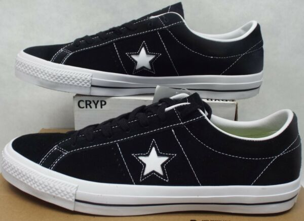 New Mens 13 Converse One Star Suede Skate OX Black Leather 149908C $70