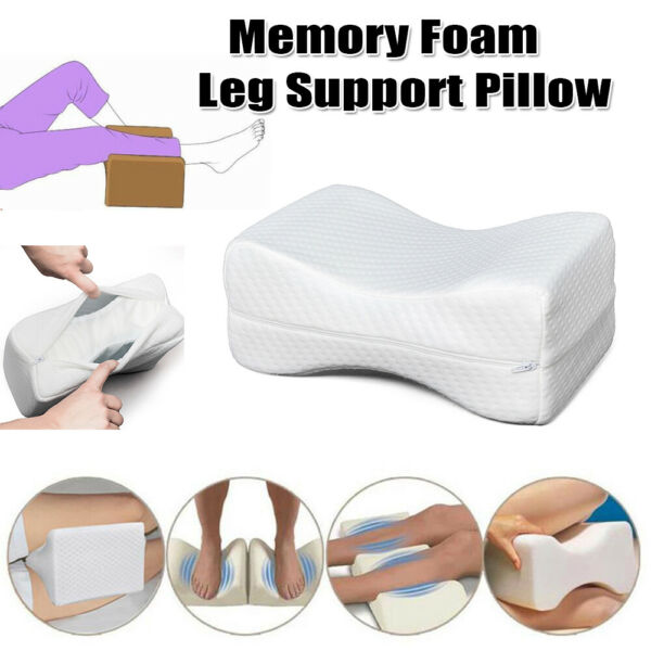 White Knee Wedge Leg Pillow w Cover Therapeutic Support Cushion for Knee Pain $15.48