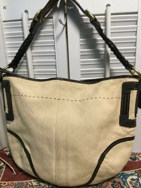 COACH Natural Angora Straw Burlap Brown Braided Leather Strap Hobo Shoulder Bag