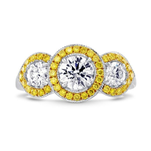 1.49Cts Colorless Diamond Engagement 3 Stone  Ring Set in 18K White Yellow Gold