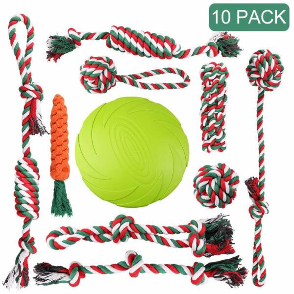 Dog Puppy Frisbee Rope Chew Squeaky Training Treat Teething Cleaning Bite Toys