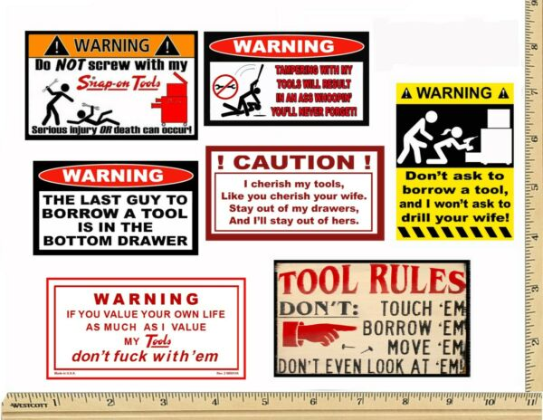 Funny Warning Stickers - Complete set of 7 Decals - Sexy Girl Tool Box MADE USA