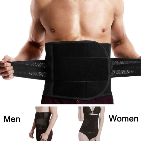 Adjustable Lumbar Back Support Belt Lower Pain Relief Double Pull Brace Mesh US