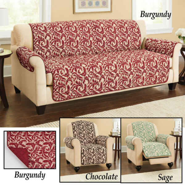 Reversible Scrolling Leaf Furniture Cover Chocolate Sage $10.00