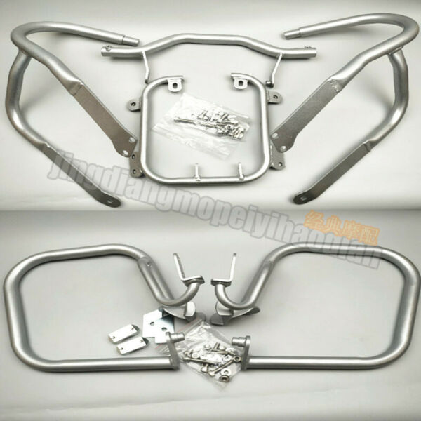 Front & Rear Engine Guard Lower Highway Crash Bars for BMW R1200RT 05-13 Silver