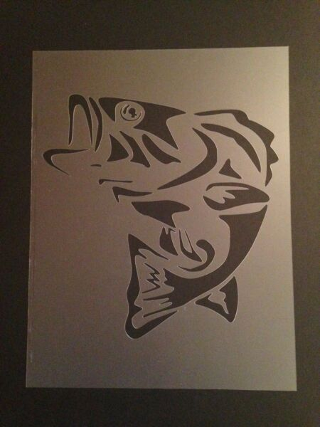 Bass Fish #1 Stencil 10mm or 7mm Thick Large Mouth Bass Fish Fishing $9.99