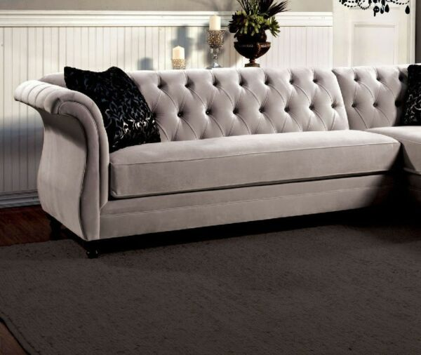 Fabulous French Style Formal Warm Gray Tuft Sectional Sofa Chaise Premium Fabric