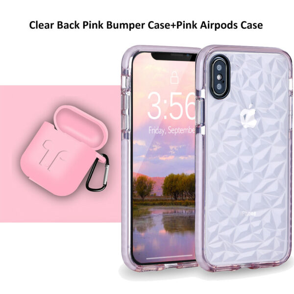For iPhone XR XS Max Case Clear Diamond Texture with Airpods Silicone Cute Case