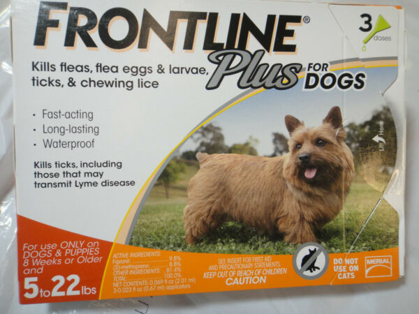 FRONTLINE PLUS DOGS 5-22Lbs FLEA & TICK CONTROL 3 DOSES NEW SEALED