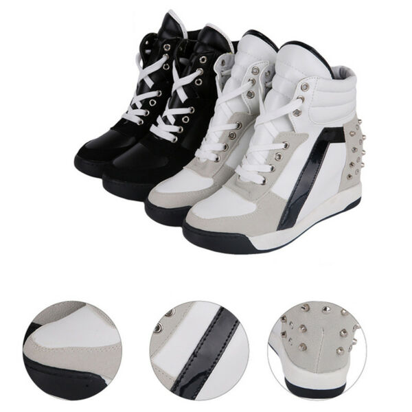 Women's Sneakers Platform Trainer Shoes High Heel Wedge Lace Top Hidden Up New