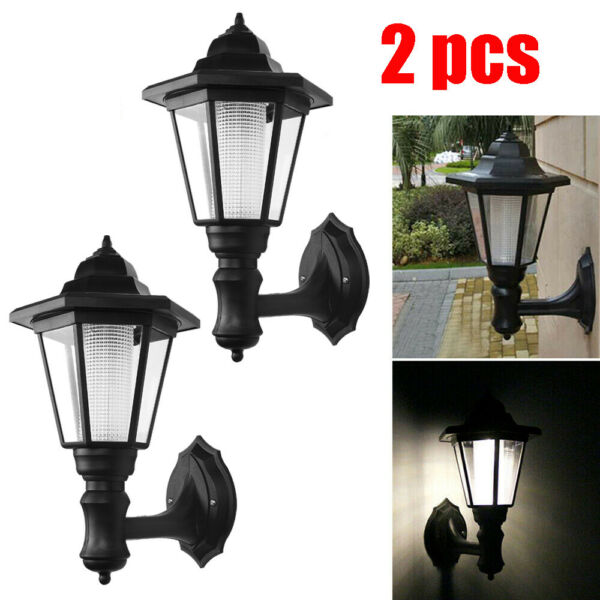 Waterproof Wall Mount Solar Lights Outdoor Pathway Gate Bright White  Lamp 2pcs