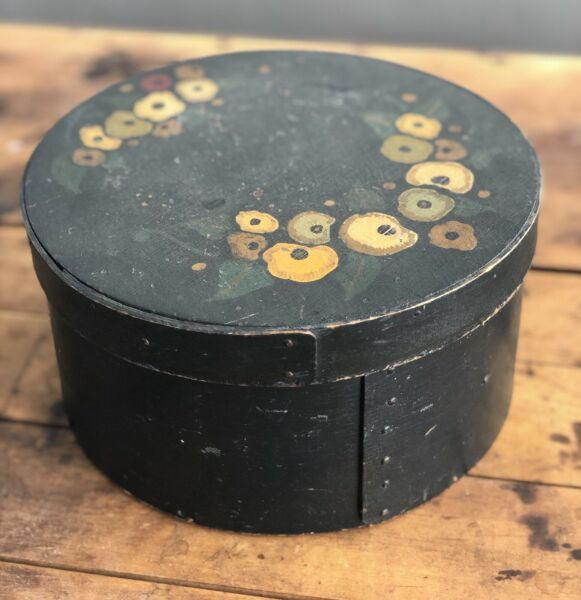 Antique Old 19th Century Primitive Windsor Green Painted Pantry Box with Flowers