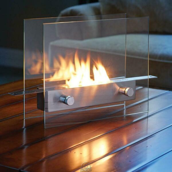The Tabletop Liquid Fuel Fireplace Clean-Burning Portable 8500s BTUs Glass