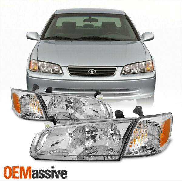 [OE Style]For 2000 2001 Toyota Camry Chrome Bezel Headlight Lamps Assembly
