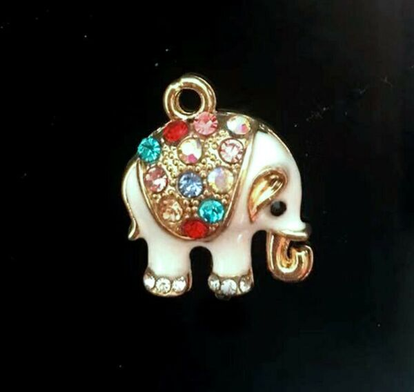 2 Elephant Goldplated Enamel Metal and Multi Colored Rhinestones Pendant Charms