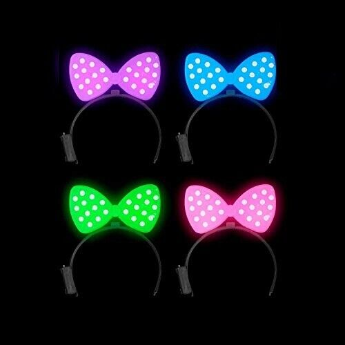 Lumistick LED Lights Polka Dot Bow Light Up Rave Ribbon Hairband Party Tie Lot
