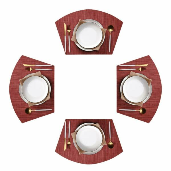 Round Table Placemats Set of 4 Wedge Washable Table mats for Kitchen Table Us St