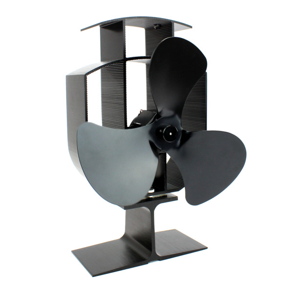 Heat Powered Stove Fan with Thermometer  Eco Friendly Wood Fireplace  M