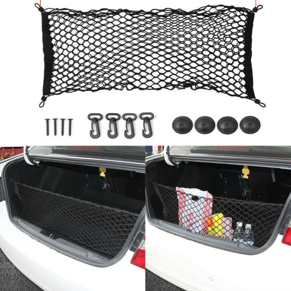 Universal Rear Luggage Cargo Trunk Storage Organizer Net Elastic plus Mounting $11.99