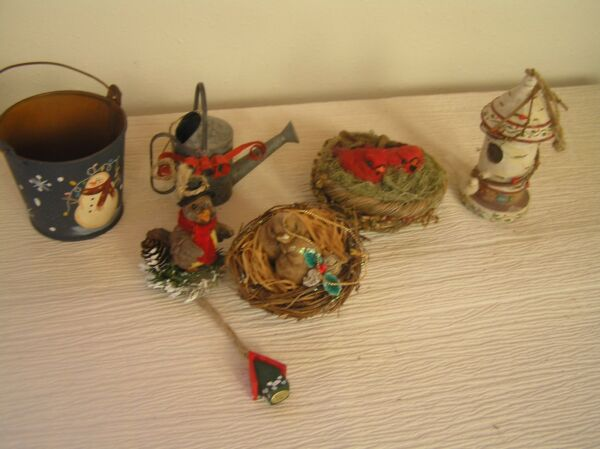 Lot of 6 Two Birds in A Nest White Resin Bird House Painted Metal Snowman Pail