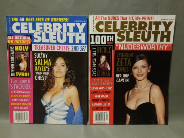 LOT of 2 * Celebrity Sleuth Magazine * Salma Hayek * Catherine Zeta Jones * Cox