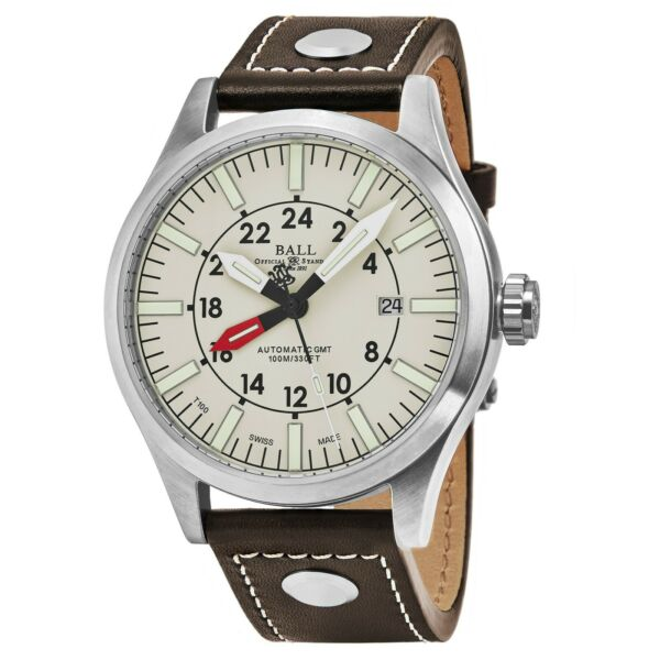 Ball Men's Engineer Master II Aviator Leather Automatic Watch GM1086C-LJ-WH