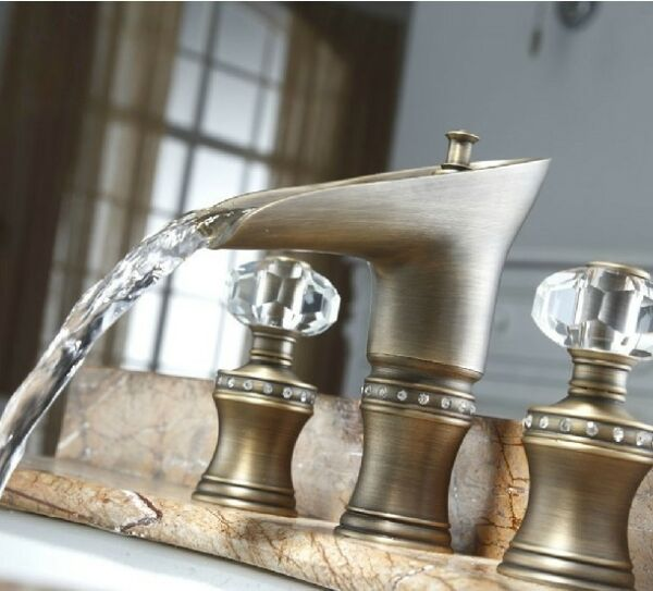 Widespread Basin Lav sink Faucet Waterfall Antique Mixer Tap crystal handles