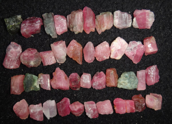 40pcs 32g  Natural Watermelon Pretty Pink And Green Tourmaline Rough
