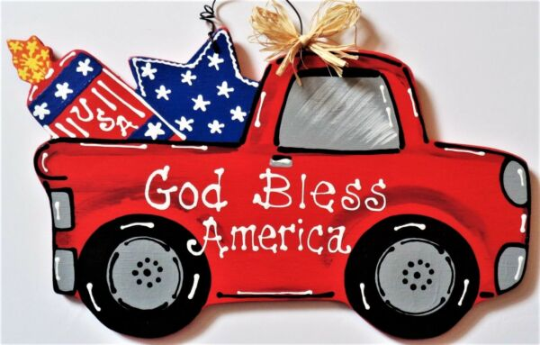 AMERICANA God Bless America RED TRUCK 4th of July SIGN Wall Door Hanger Plaque