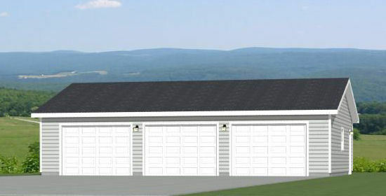 40x30 3 Car Garage 1200 sqft PDF Floor Plan Model 1C $19.99