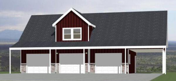 40x30 3 Car Garage with Carport 2065 sqft PDF Floor Plan Model 9A $29.99