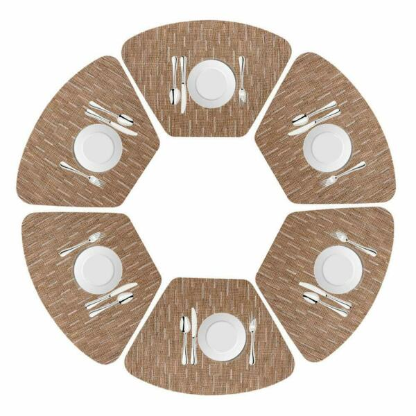 Us-Round Table Placemats Set of 6 Wedge Washable Table mats for Kitchen Table