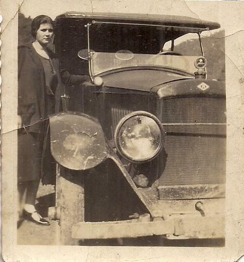 Stoic Looking Young Woman Standing By Antique Allen Car Vintage 1910s Photo $19.99