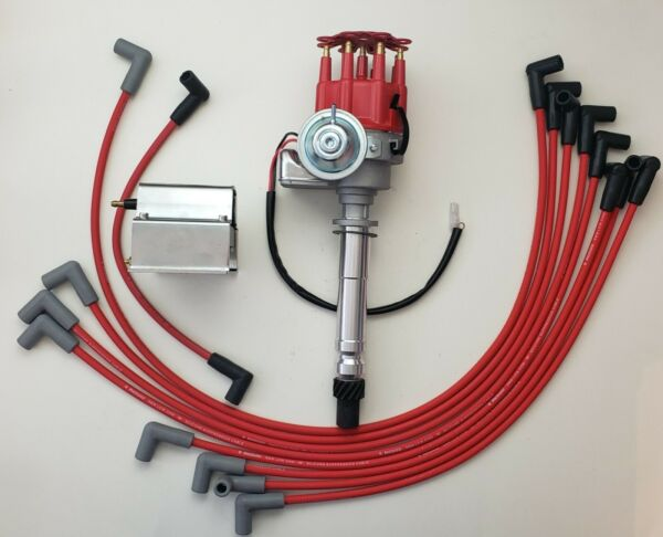 SB CHEVY 327 350 RED Small HEI Distributor + WIRES Over Valve Cover +60K Coil