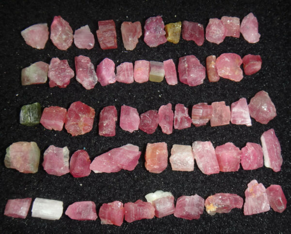 54pcs 32g Small Size Natural Watermelon Pretty Pink And Green Tourmaline Rough