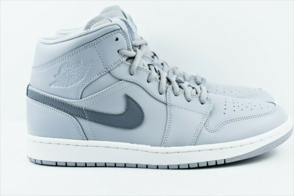 Nike Air Jordan 1 Mid Mens Multi Size Shoes Wolf Cool Grey 554724 033