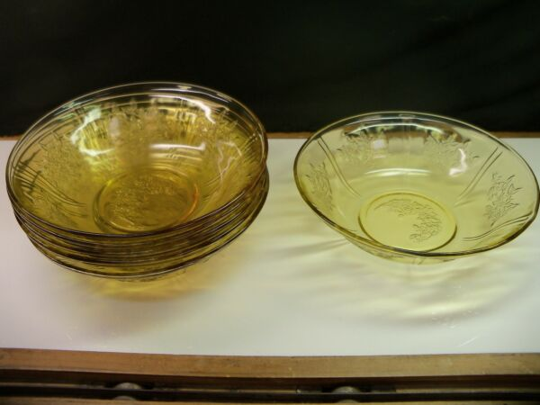 6 Federal AMBER Depression Glass Cabbage Rose SHARON Serving Bowls 8 1 2quot; Wide