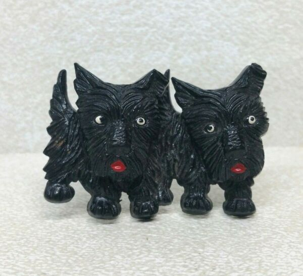 Vintage Plastic Dog Two Rotating Head Brooch $49.00