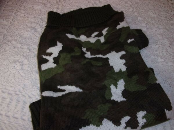 Olive Green CAMO SWEATER Pet Puppy Dog XS XL 2XL New Wag a tude sleeves petco $18.74