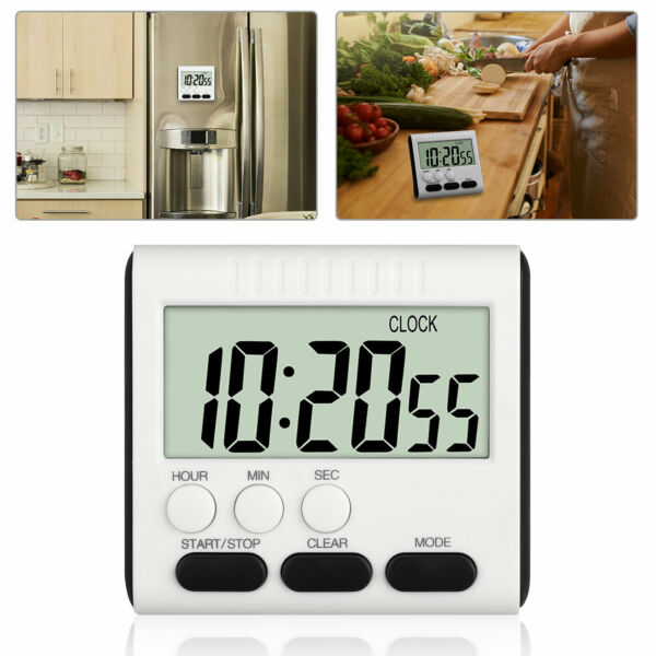 Wireless Digital Thermometer WMagnet Hook for Refrigerator Freezer Fridge White