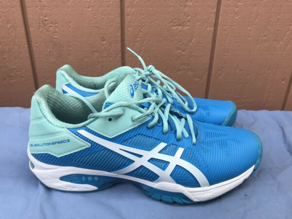 EUC ASICS GEL Solution Speed 3 Women's US 8 Tennis Shoe AquaWhiteBlue A5