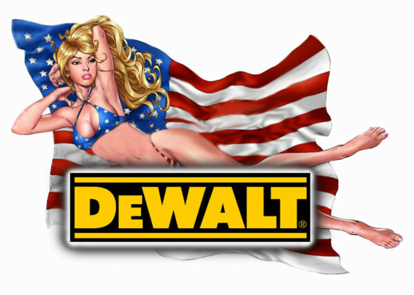 "DEWALT TOOLS  STICKER DECAL 3"" X 4"" GLOSSY LABEL TOOL BOX SEXY USA PINUP GIRL"