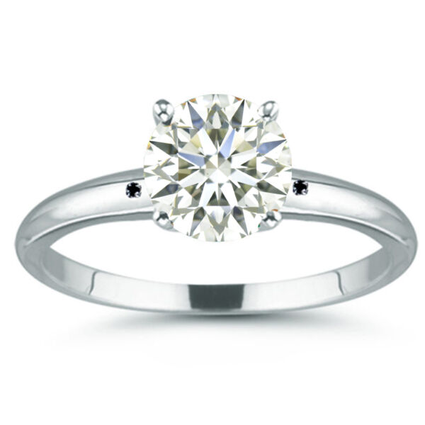 2.44 ct VVS1=NATURAL OFF WHITE REAL MOISSANITE DIAMOND .925 Sterling SILVER RING