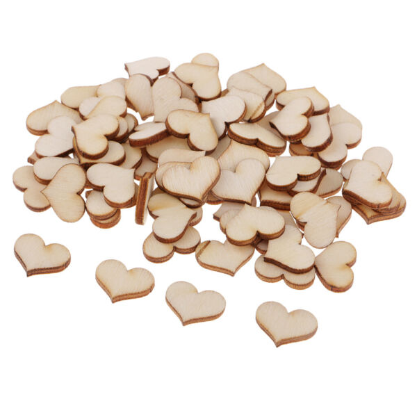 100pc Natural Cutouts Wood Heart Craft Wooden Embellishments Wedding Favours