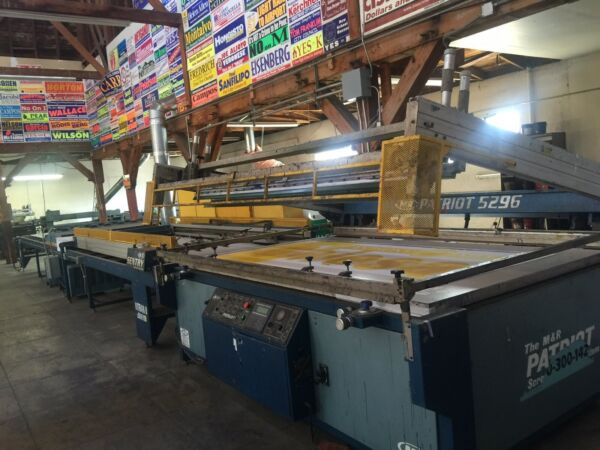 Silk Screen Printing Presses and Ultra Violet Curing Systems.  Large Format.